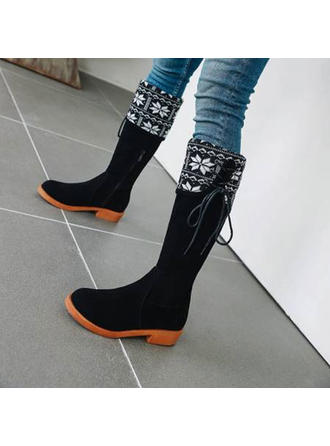 Women's Leatherette Chunky Heel Mid-Calf Boots With Zipper Lace-up shoes