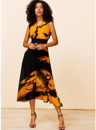 Impresión Sin mangas Acampanado Midi Casual/Elegante Vestidos