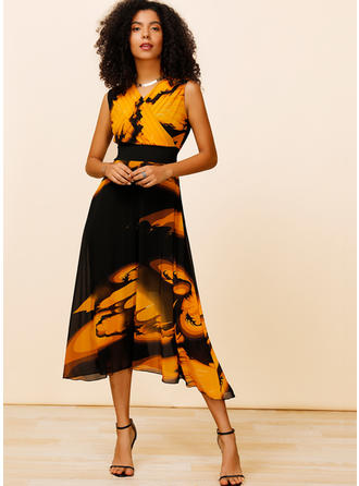Print Sleeveless A-line Midi Casual/Elegant Dresses