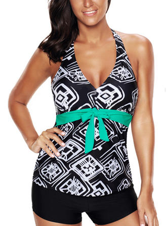 Tropical Print Halter Elegant Tankinis Swimsuits