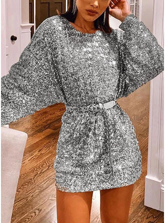 Sequins Long Sleeves/Lantern Sleeve Sheath Above Knee Casual/Party Dresses