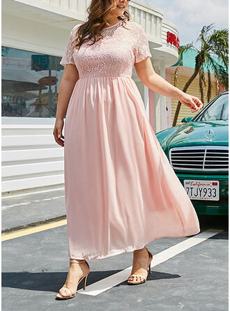 Lace/Solid Short Sleeves A-line Vacation/Plus Size Midi Dresses