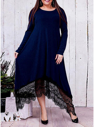 Lace/Solid Long Sleeves Shift Little Black/Casual/Elegant/Plus Size Midi Dresses