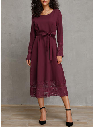 Lace/Solid Long Sleeves A-line Midi Casual Dresses