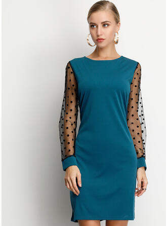 Solid/PolkaDot Long Sleeves Shift Above Knee Casual/Party Dresses