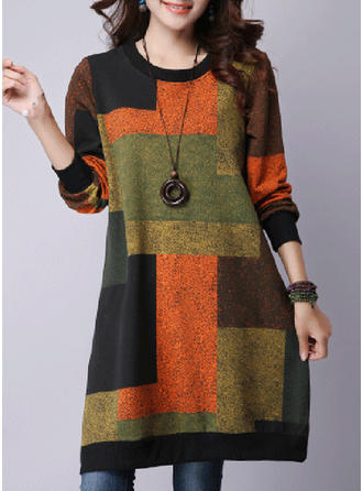 Cotton Blends Round Neck Color Block Sweater