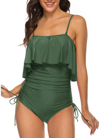Solid Color Ruffles Strap Sexy One-piece Swimsuits