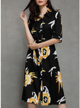 Print/Floral 1/2 Sleeves/Long Sleeves A-line Midi/Maxi Casual Shirt Dresses