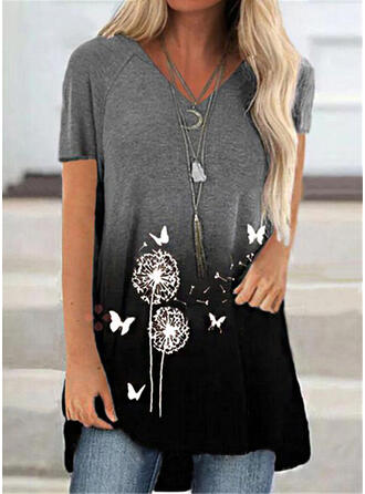 Animal Print Dandelion Gradient V-Neck Short Sleeves T-shirts