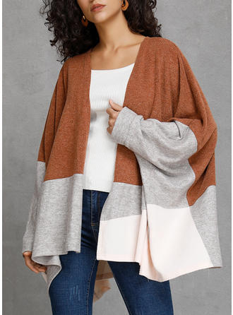 Cotton Blends Long Sleeves Color Block Wide-Waisted Coats