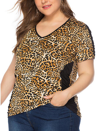 Leopard V-Neck Short Sleeves Plus Size T-shirts