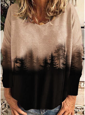 Print Forest Round Neck Long Sleeves Casual T-shirts