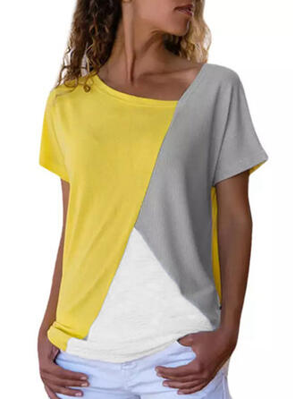 Color Block Round Neck Short Sleeves Casual T-shirts