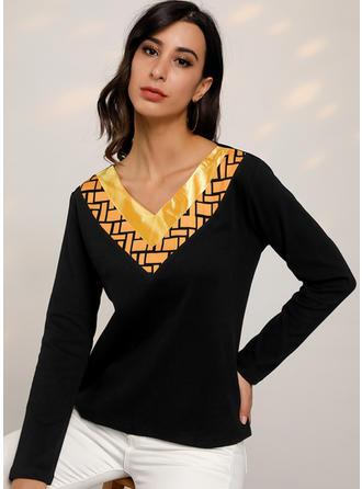 Nadruk Blok Kolorów Dekolt w kształcie litery V Długie rękawy Casual Dzianina T-shirty