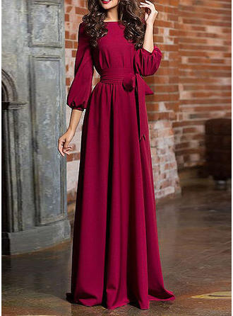 Solid 3/4 Sleeves A-line Maxi Dresses