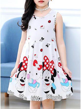 Girls Round Neck Print Casual Cute Dress