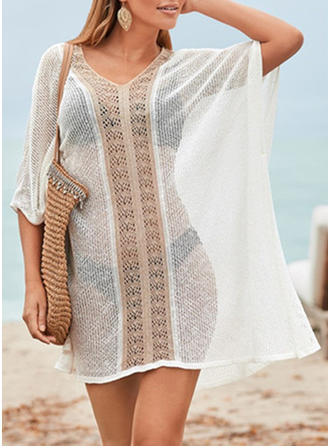 Solid Color V-neck Sexy Elegant Cover-ups Swimsuits