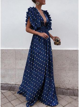 PolkaDot Litera V Maxi Sukienka Trapezowa