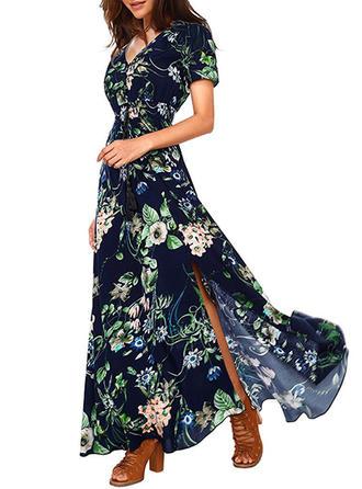 Print Blommig V-ringning Maxi A-linjeklänning
