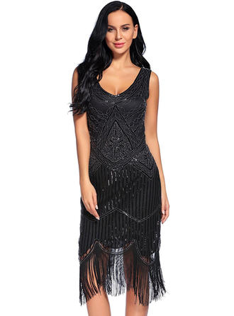Polyester/Chinlon With Sequins/Tassel Knee Length Dress