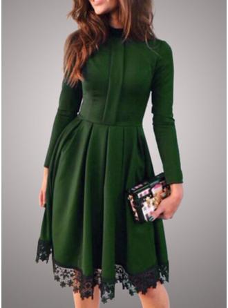 Koronka/Jednolita Długie rękawy W kształcie litery A Długośc do kolan Casual/Elegancki Sukienki