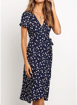 Print/Floral Short Sleeves Sheath Knee Length Casual Dresses