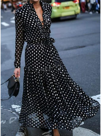 PolkaDot Long Sleeves A-line Maxi Casual/Elegant/Vacation Dresses