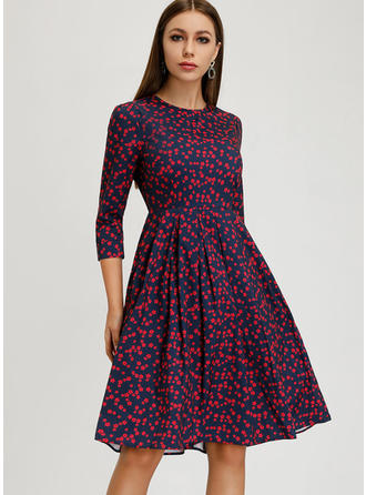 Print 3/4 Sleeves A-line Knee Length Vintage Dresses