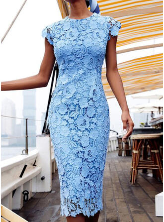 Lace/Solid Short Sleeves Bodycon Casual/Elegant Midi Dresses
