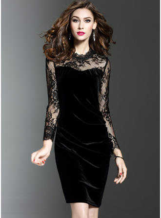 Velvet With Solid Midi Dress