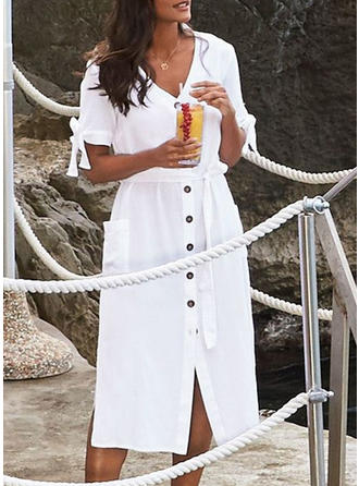 Solid Color V-neck Sexy Elegant Fashionable Cover-ups Swimsuits