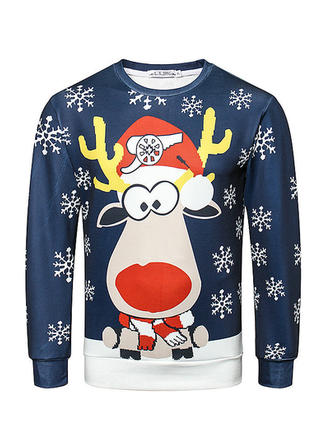 Men's Polyester Print Deer Christmas Sweatshirt