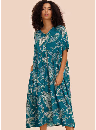 Print 1/2 Sleeves Shift Midi Casual Dresses