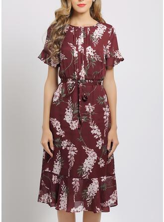 Print/Floral Short Sleeves/Flare Sleeves A-line Knee Length Casual/Elegant Dresses