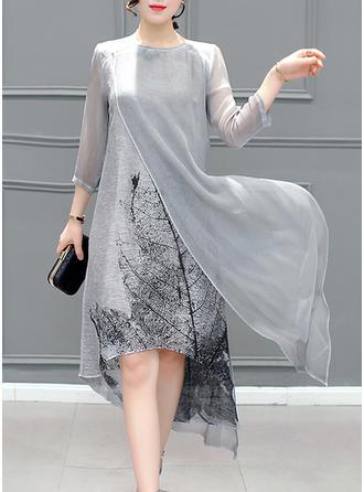 Print 3/4 Sleeves Shift Asymmetrical Casual/Party/Elegant Dresses