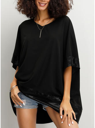 Solid V Neck Batwing Sleeve 1/2 Sleeves Casual Blouses