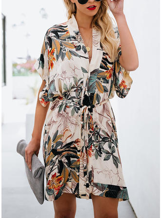 Floral Short Sleeves Shift Above Knee Casual/Boho Dresses