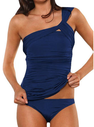 Solid Color One-Shoulder Elegant Tankinis Swimsuits