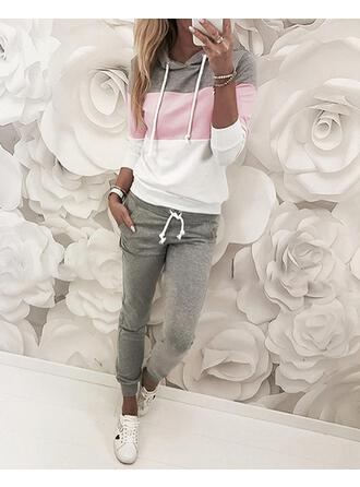 Hooded Long Sleeves Color Block Fashionable Top & Pants Sets