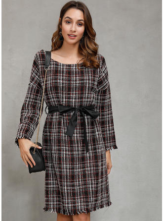 Plaid Long Sleeves Sheath Knee Length Casual Dresses