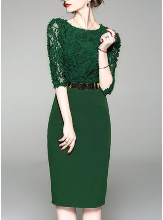 Lace 1/2 Sleeves Bodycon Knee Length Elegant Dresses