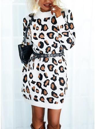 leopardo Maniche lunghe Casuale Abiti