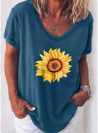 Sunflower Print V-Neck Short Sleeves Casual T-shirts