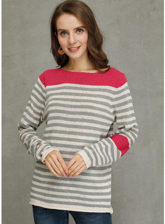 Striped Chunky knit Round Neck Sweaters