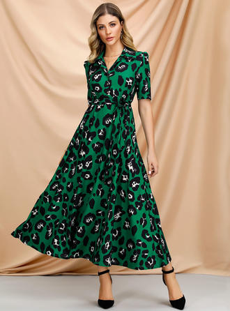 Print Short Sleeves A-line Maxi Casual/Elegant Dresses