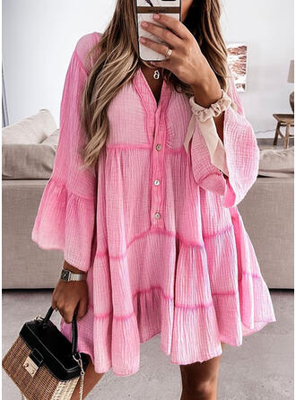 Solid Long Sleeves/Flare Sleeves Shift Above Knee Casual Tunic Dresses