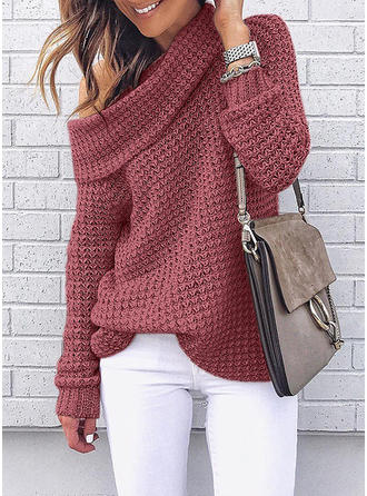 Poliester Off the Shoulder Waffle Dzianina Swetry