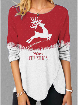 Christmas Letter Reindeer Round Neck Long Sleeves T-shirts