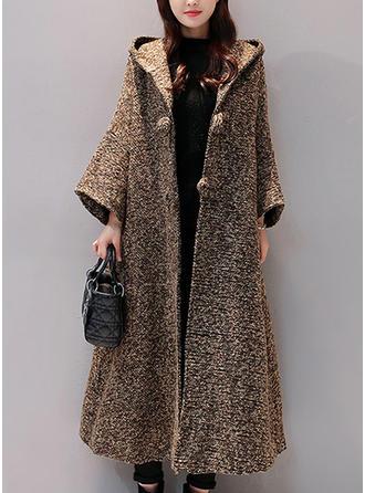 Algodón Manga larga Color sólido Abrigo lana