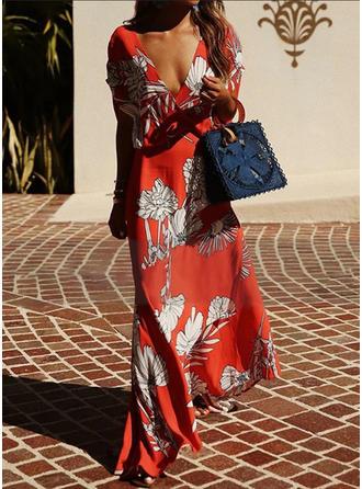 Nadrukowana/Kwiatowy Krótkie rękawy W kształcie litery A Maxi Casual/Wakacyjna Sukienki